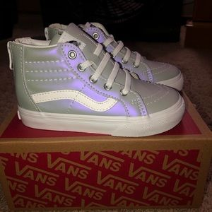 Kids Size 8 Metallic Grey hightop vans